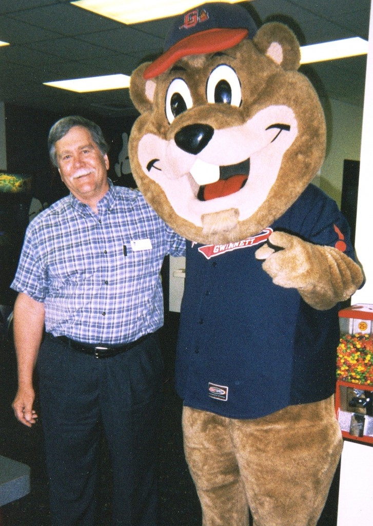 Jim Bennett with Chopper, Gwinnett Braves Mascot